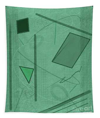 Shapes In Green Color Tapestry