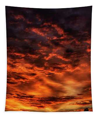 Sheep Grazing At Dawn  Tapestry