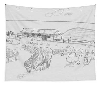 Sheep On Chatham Island, New Zealand Tapestry