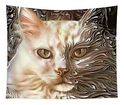 Sherry The White Cat Tapestry