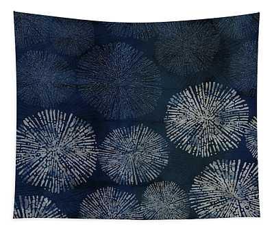 Shibori Sea Urchin Burst Pattern Dark Denim Tapestry
