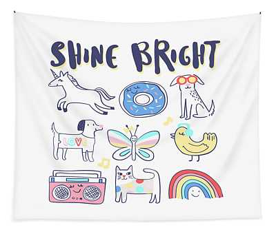 Shine Bright - Baby Room Nursery Art Poster Print Tapestry
