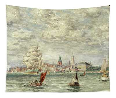 Shipping Off Kiel Tapestry
