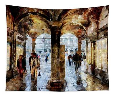 Shopping Area Of Saint Mark Square In Venice, Italy - Watercolor Effect Tapestry