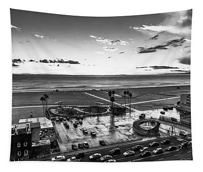 Showers Over The Bay - Black And White Tapestry