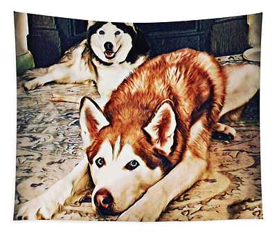 Siberian Huskies At Rest A22119 Tapestry