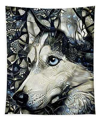 Siberian Husky Dog Abstract Art Tapestry
