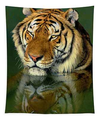 Siberian Tiger Reflection Wildlife Rescue Tapestry