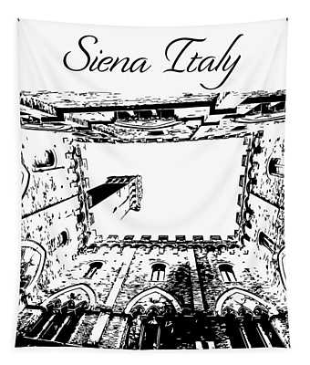 Siena Italy Silhouette Tapestry