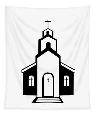Silhouette Of A Christian Church Tapestry
