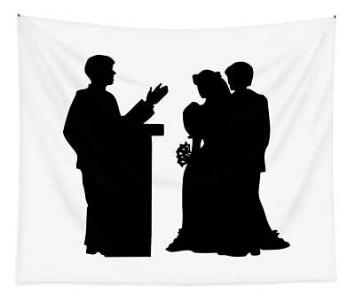 Silhouette Of A Couple Getting Married Tapestry