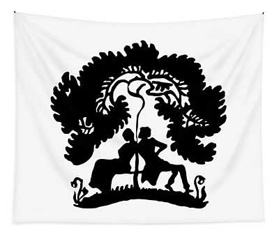 Silhouette Of A Couple Under A Tree Tapestry