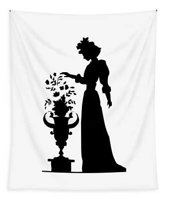 Silhouette Of A Victorian Woman And Flowers Tapestry