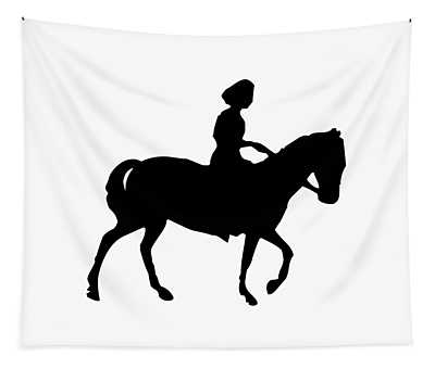 Silhouette Of A Woman On Horseback Tapestry