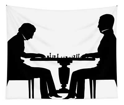 Silhouette Of Chess Players, Around 1845 Tapestry