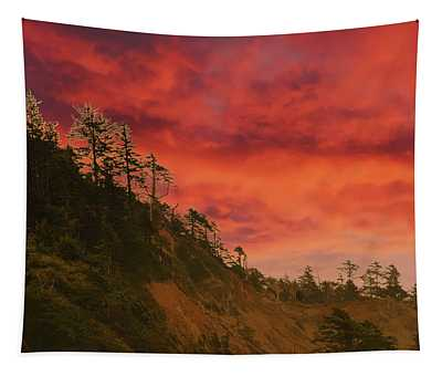 Silhouette Of Conifer Against  Seacoast  Tapestry