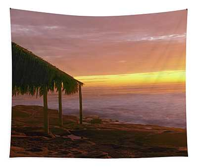 Silhouette Of Couple On The Beach Tapestry