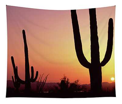 Silhouette Of Saguaro Cacti Carnegiea Tapestry