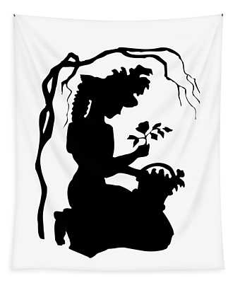 Silhouette Woman Picking Roses Tapestry