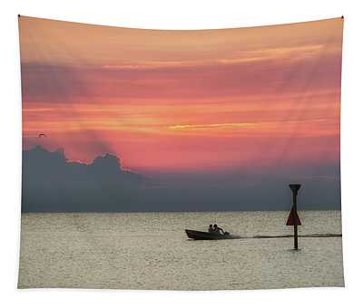 Silhouette's Sailing Into Sunset Tapestry