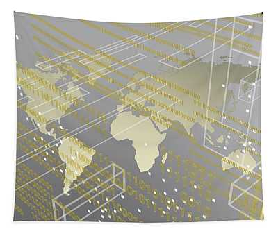 Silver And Tech Image Of Urban Worldmap Tapestry