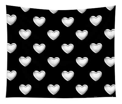 Silver Hearts On A Black Background Saint Valentines Day Love And Romance Tapestry