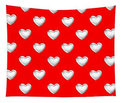 Silver Hearts On A Red Background Saint Valentines Day Love And Romance Tapestry