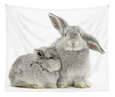 Silver Love Bunnies Tapestry