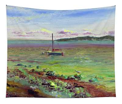 Silver Shores Seascape Tapestry