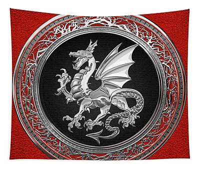 Silver Winged Norse Dragon - Icelandic Viking Landvaettir On Black And Silver Medallion Over Red  Tapestry