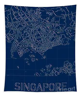 Singapore Blueprint City Map Tapestry