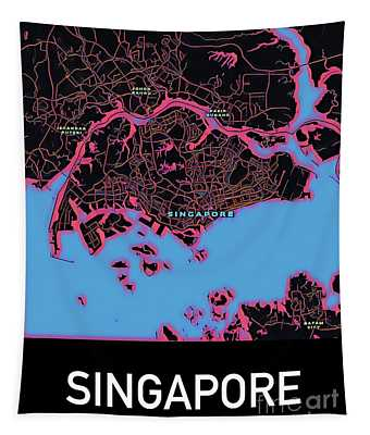 Singapore City Map Tapestry