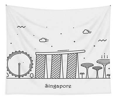 Singapore Cityscape Travel Poster Tapestry
