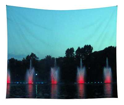 Singing Fountains At Night Tapestry