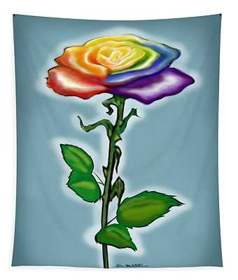 Single Rainbow Rose Tapestry