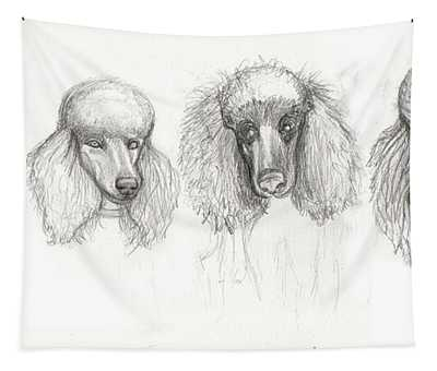 Sketch Of Four Poodles Tapestry