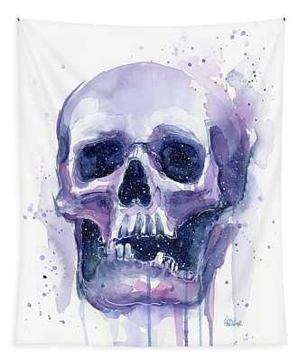 Skull In Space Tapestry
