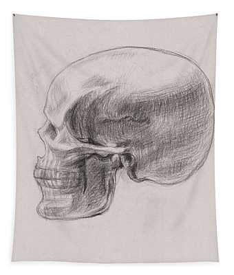 Skull Study Profile Tapestry