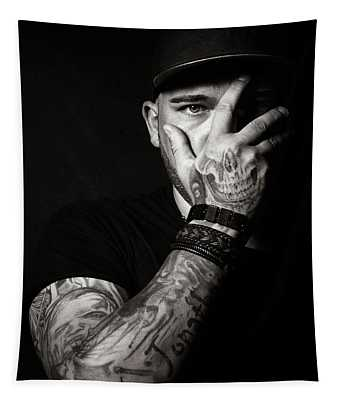 Skull Tattoo On Hand Covering Face Tapestry