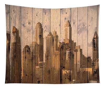 Skyline Of Dubai, Uae On Wood Tapestry