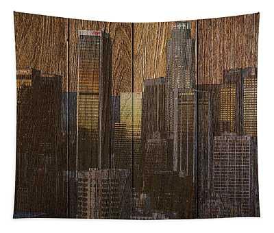 Skyline Of Los Angeles, Usa On Wood Tapestry