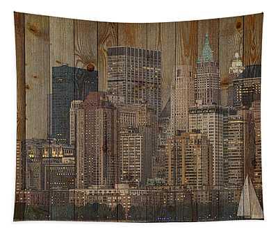 Skyline Of New York, Usa On Wood Tapestry