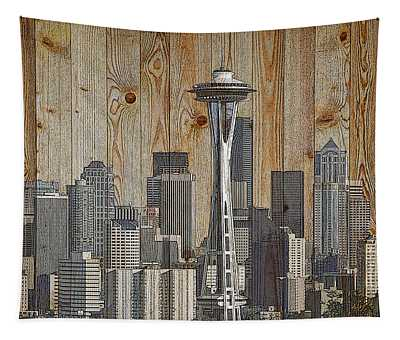 Skyline Of Seattle, Usa On Wood Tapestry
