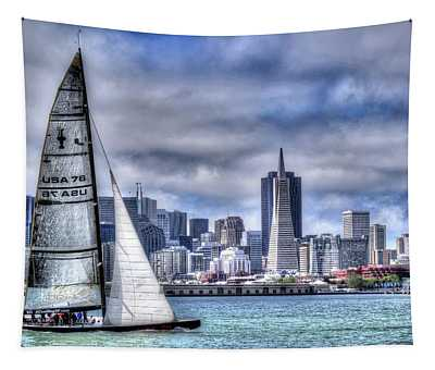 Skyline Sail  San Francisco Ca Tapestry