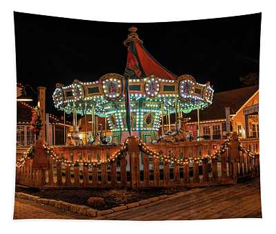 Smithville Carousel At Night Tapestry
