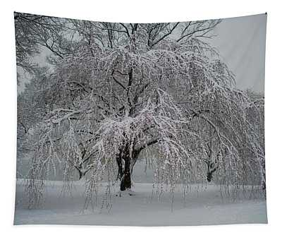 Snow And Mist By The River Tapestry