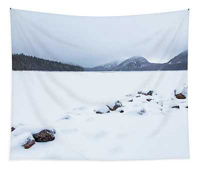 Snow Cover Jordan Pond Tapestry
