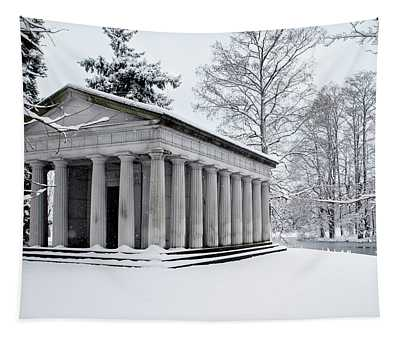 Snow Covered Monument Tapestry