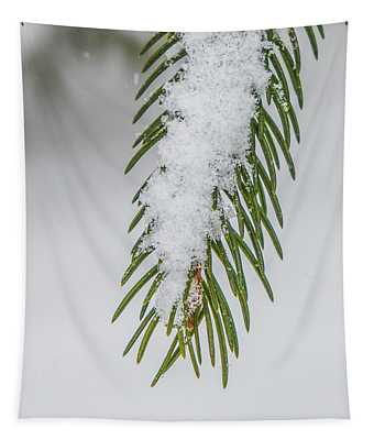 Snow Covered Pines Needles  Tapestry
