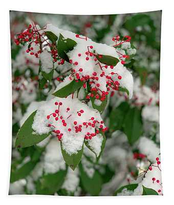 Snow Covered Winter Berries Tapestry